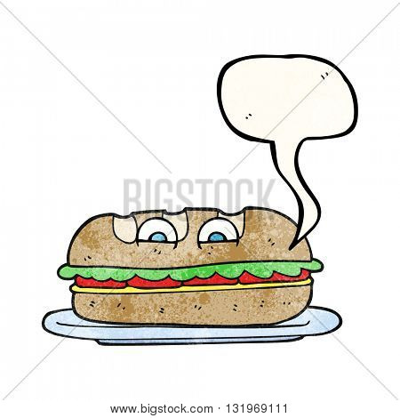 freehand speech bubble textured cartoon sub sandwich