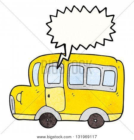freehand speech bubble textured cartoon yellow school bus
