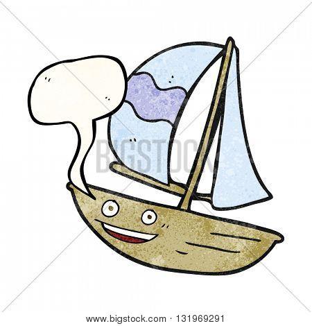 freehand speech bubble textured cartoon sail ship