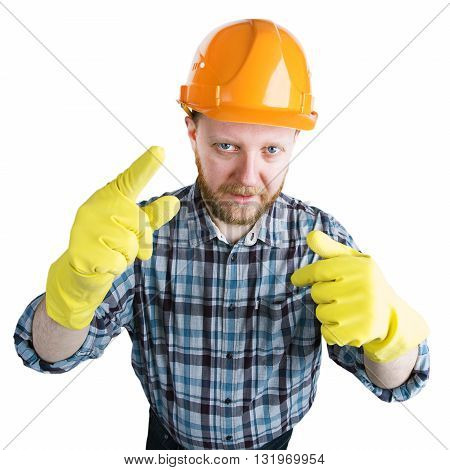 Man in an orange helmet and yellow gloves