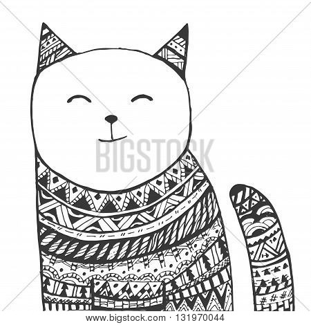 Cute kitten. Black and white hand drawn doodle animal.