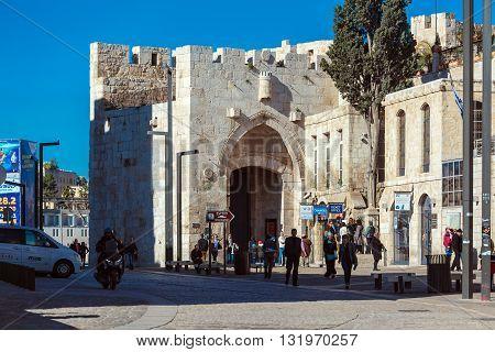 Jerusalem, Israel - February 20, 2013: Tourists Walking Near Jaffa Gate