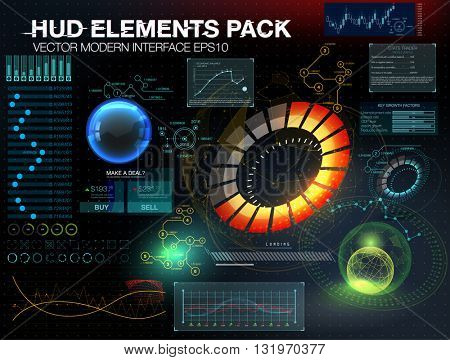 abstract hud. Fantastic abstract background with different elements of the HUD. Big set of various HUD elements. Charts, ratings style HUD switches and various geometrical objects