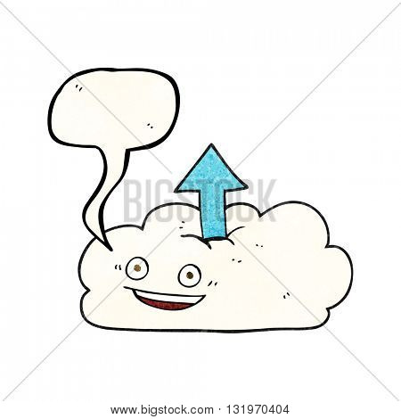 freehand speech bubble textured cartoon upload to the cloud