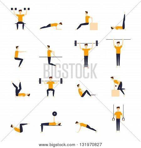 Fitness exercise and equipment for men sport, exercise, health, fitness. Isolated vector illustration. Workout. Flat vector illustration.
