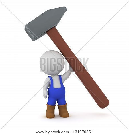 3D character holding up a large hammer. Isolated on white background.