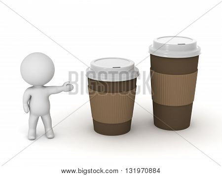 3D character showing two take-away coffee cups. One is larger. Isolated on white background.