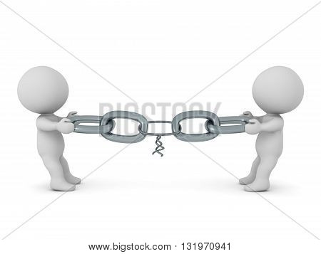 Two 3D characters pulling on a chain with one very weak link. From opposite sides. Isolated on white background. 3D illustration.