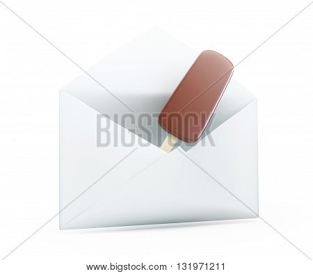 ice cream mailing 3d Illustrations on a white background