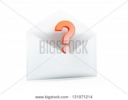 open letter with a question mark 3D illustrationon a white background