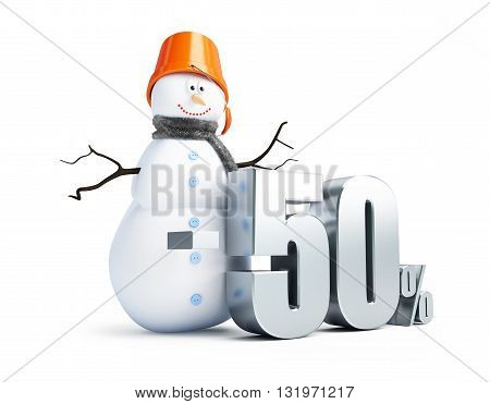 snowman a discount of 50 per cent 3d Illustrations on a white background