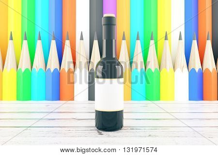 Wine bottle with blank label on wooden table and colorful pencil pattern background. Mock up 3D Rendering