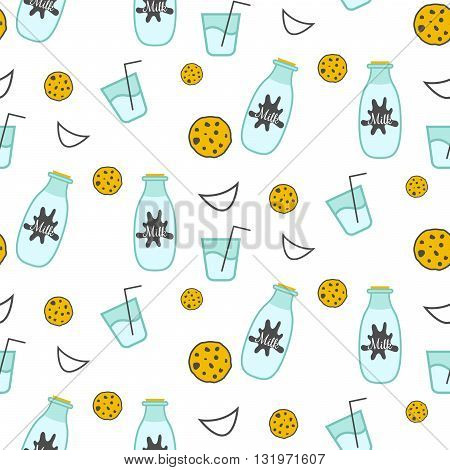 Milk and cookie seamless vector pattern. Dairy fun pattern with milk glass bottle, smiles and milk splash stains on white.