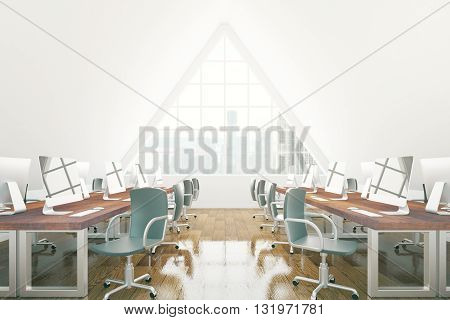Brown coworking office interior with numerous chairs desks with computer monitors wooden floor and triangular window with New York city view. 3D Rendering