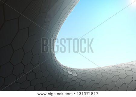 Hi-tech hexagon pattern in the sky. 3D Rendering