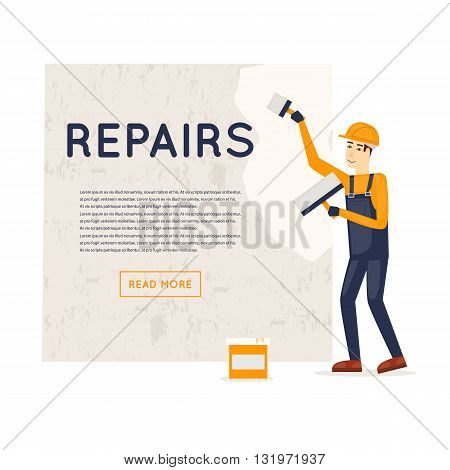 Working puttied wall. Repair, construction, painting. Character. Flat style vector illustration.