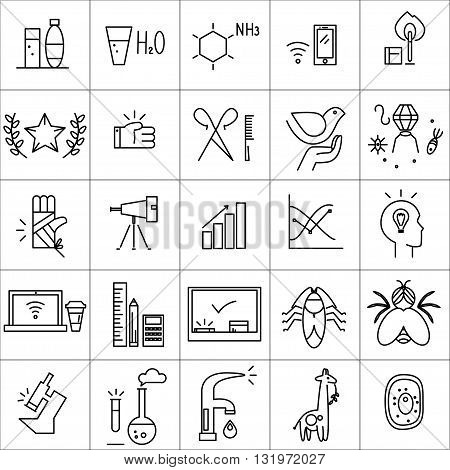 Vector icons set isolated on white background. Flat icon set, logo, insignia, symbol, brand. Social icons for science, banking firm, organization, shop, restaurant, industrial, communication element.