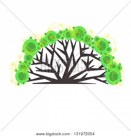 Graphic tree logo. Suitable for ecological, social, landscape, community projects. Vector isolated illustration.