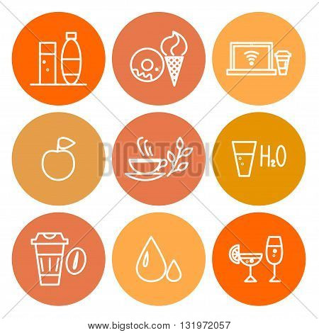Vector colorful food icon set isolated on white background. Simple icon isolated, insignia, emblem, symbol, brand, thumbnail. Flat food icon concept for shops, coffee, restaurants, cards, banners.