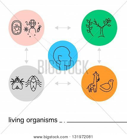 Vector biology icon set isolated on white background with colorful circles. Flat icon, logo, insignia, symbol, brand, illustration. Art concept for science article, scientific journal, publishing.