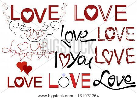 Inscriptions from the hand of Love, I love you in different fonts with hearts