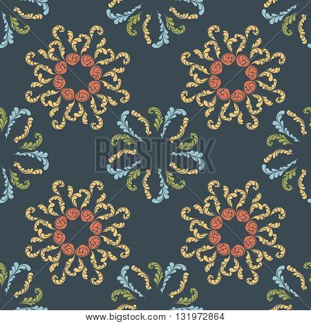 pattern with abstract leaves and flowers elements, vector illustration