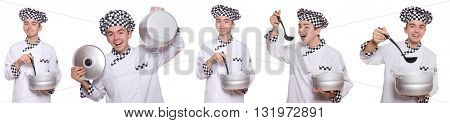 Set of photos with funny cook