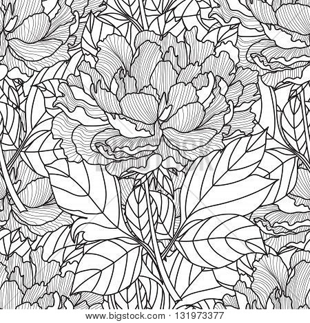 Seamless Peony bouquet.Coloring book page for adults. Hand drawn artwork. Love bohemia concept for wedding invitation, card, ticket, branding, logo, label. Gift for girl, women. Black and white.