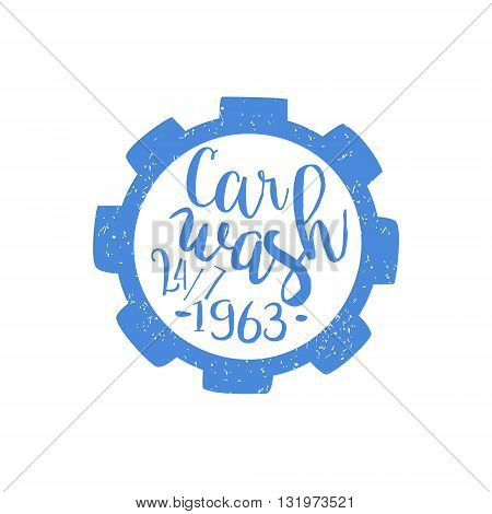 Carwash Blue Vintage Stamp Classic Cool Vector Design With Text Elements On White Background