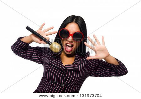 Woman singing in karaoke club isolated on whie