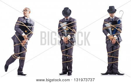 Man tied up isolated on white
