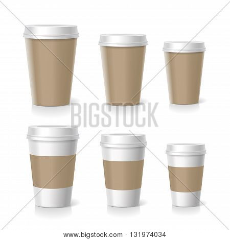 Vector illustration of coffee cups set, isolated on white