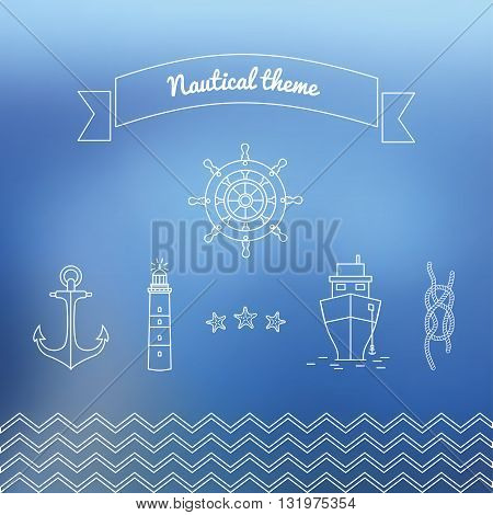 Marine theme vector illustration with steering lighthouse ship and a rope with a marine unit.