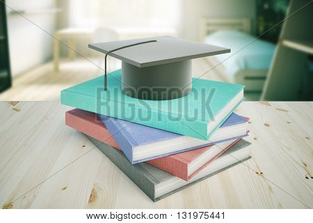 Books and graduation cap on wooden desktop and blurry bedroom in the background. Education concept. 3D Rendering