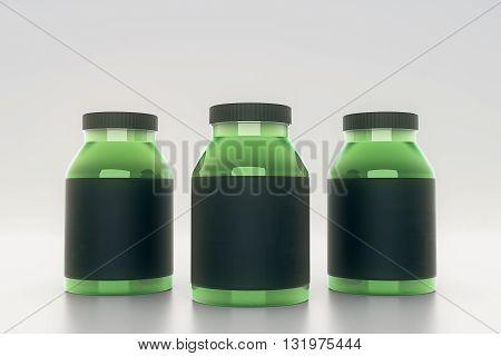 Green glass bottles with empty black labels on light background. Mock up 3D Rendering