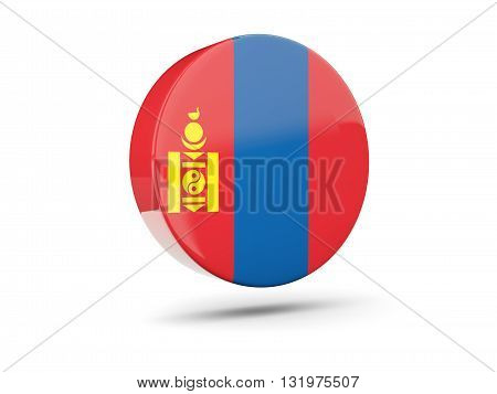 Round Icon With Flag Of Mongolia
