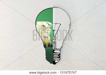 Idea and financial growth concepts with lightbulb sketch and dollar bills and coins