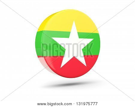 Round Icon With Flag Of Myanmar