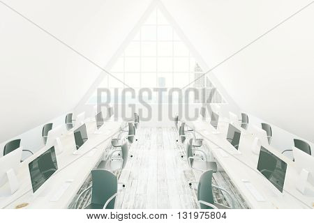 Bright coworking office interior with numerous chairs desks with computer monitors wooden floor and triangular window with New York city view. 3D Rendering