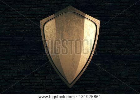 Golden shield on black brick wall background. Mock up 3D Rendering