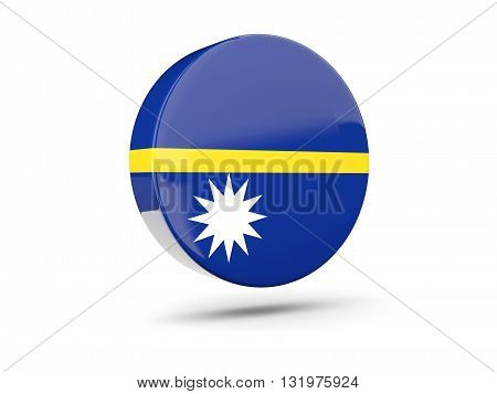 Round Icon With Flag Of Nauru
