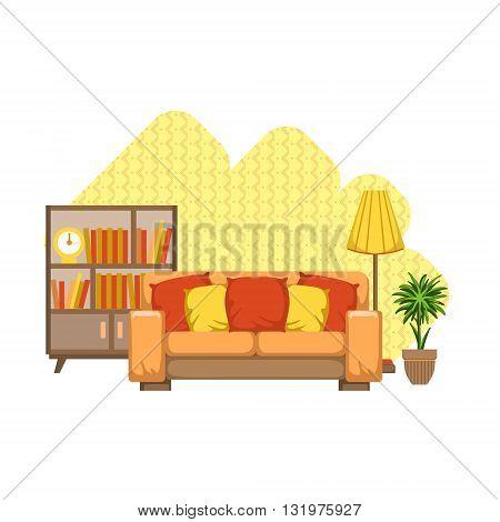Living Room Interior Design Flat Cartoon Stylized Vector Illustration