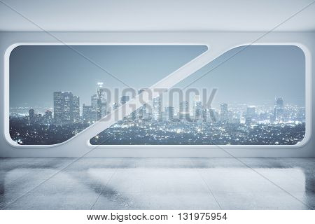 Interior design with concrete floor ceiling and creative window with night city view. 3D Rendering