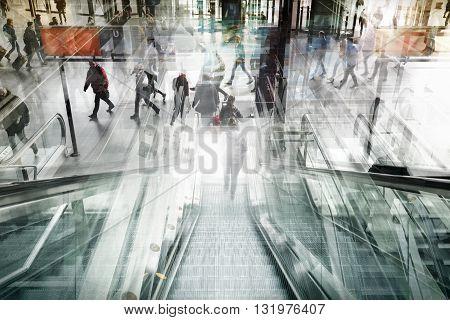 BERLIN GERMANY. MARCH 14 2016: Indoor double exposure artwork of the Hauptbahnhof Berlin the main railway station.