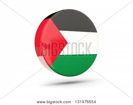 Round Icon With Flag Of Palestinian Territory