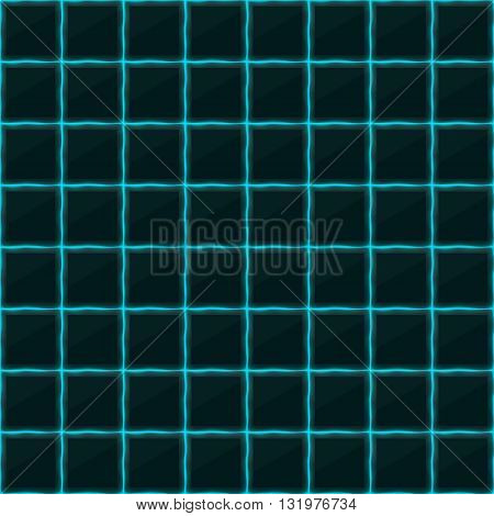 Square of black stone with blue streaks of energy. Seamless vector texture. Technology seamless pattern.Vector geometric dark background.