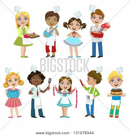 Kids On Cooking Lesson Set Of Bright Color Isolated Vector Drawings In Simple Cartoon Design On White Background