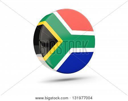Round Icon With Flag Of South Africa