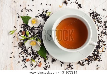 Jasmine Tea With Jasmine Herb Flower And Dry Tea