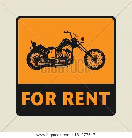 Motorbike For Rent icon or sign, vector illustration